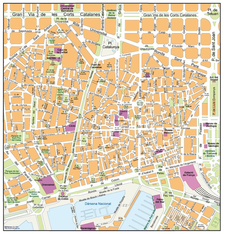 Barcelona old town map