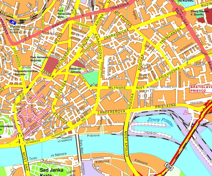 Download Bratislava vector maps as digital file Purchase online