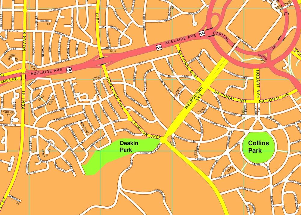 Canberra streetmap
