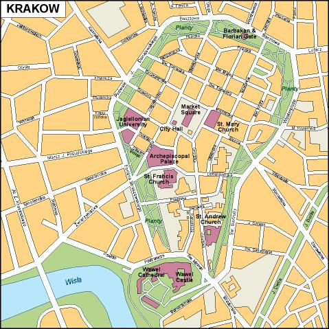 Download Krakow map as digital file Purchase online our Eps