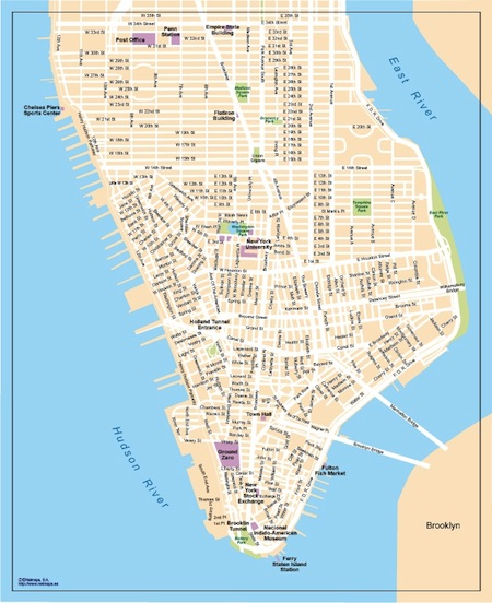 Lower Manhattan Vector Map
