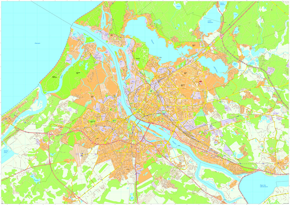 Riga area streetmap