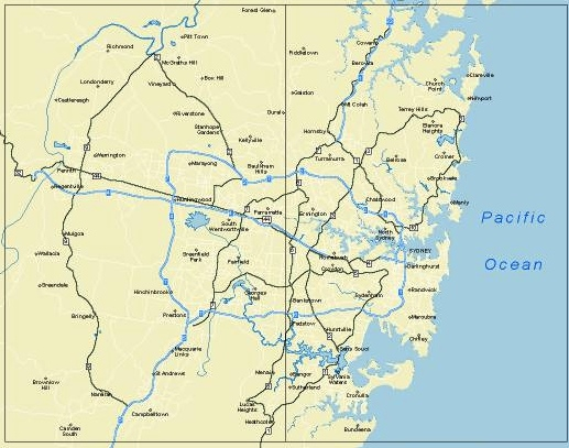 Sydney area map