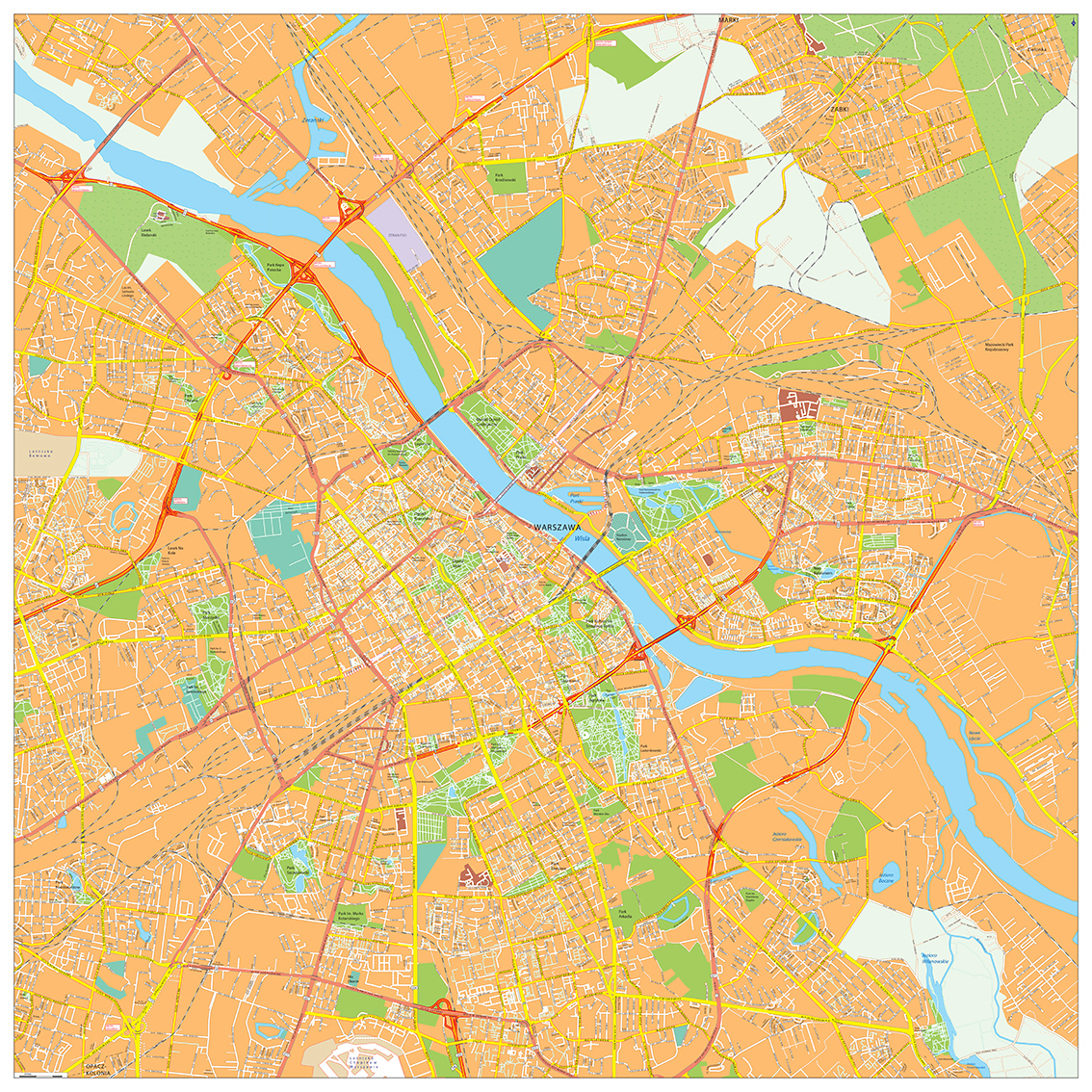 Warsaw city map