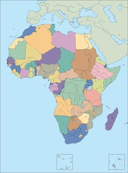 Download Africa Political Blank Map As Digital File Purchase - Empty map of africa