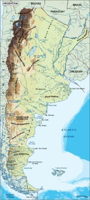 argentina topographical map