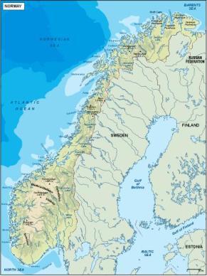 Topographic Map Of Norway.Norway Vector Maps Illustrator Vector Maps