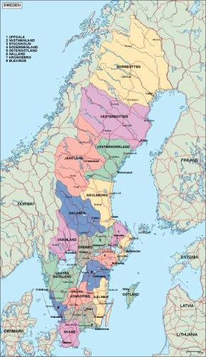 Download Sweden Vector Maps As Digital File Purchase Online Our - Sweden map in english